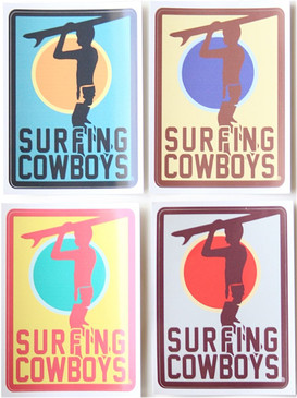 Set of 4 Surfing Cowboys Stickers