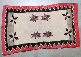 "1920's Navajo Double Saddle Blanket with ""Vallero"" 8 Pointed Stars"