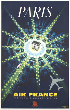 "Air France Travel Poster, Pierre Baudouin ""Paris"""
