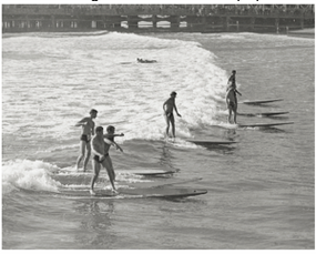 Long Beach Surf Competition Black and White Archival Photograph