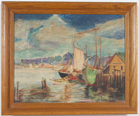 Ships in the Harbor Oil Painting