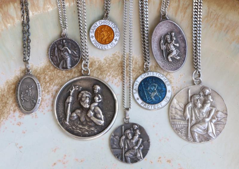 Authentic vintage st christopher pendants surfing cowboys these st christophers are seriously sought after protective amulets of surfers travelers featuring the mozeypictures Choice Image