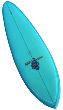 1970s Plastic Fantastic Vibrant Turquoise Blue Surfboard