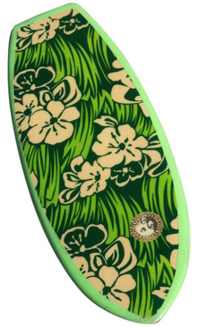 1965 Green Floral Dextra Belly Board Surfboard, Original