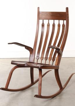 Contemporary California Craftsman Handmade Rocking Chair, in style of Sam Maloof Dark Walnut