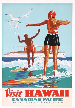 1930s Hawaii Surf Travel Poster, Canadian Pacific, Rare