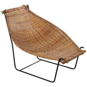 Danny Ho Fong Tropi-Cal Rattan and Iron Sling Lounge Chair