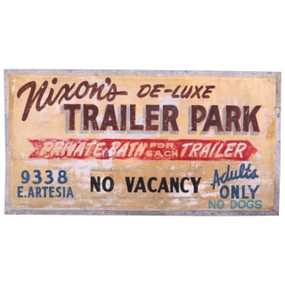 1950s Trailer Park Sign, Bellflower California, All Original, Double-Sided