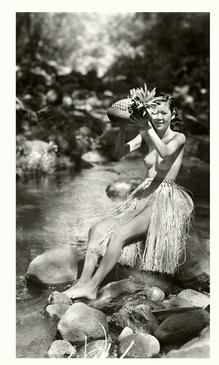 Hawaiian Wahine Archival Photograph