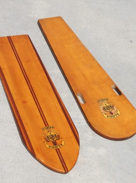 1920s Original Paipo Surfboards with Hawaiian Crest, Set of Two, Wood