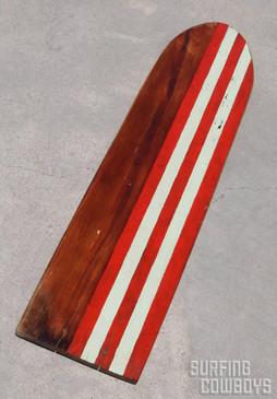 1930s Wood Surfboard with Stripes, All Original