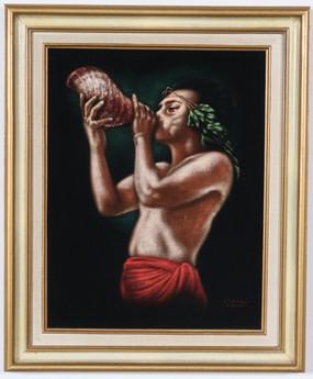Edgar Leetag Tahiti, Black Velvet Painting, Original Vintage