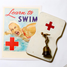 Collection of Original Swimming Memorabilia, Poster, Trophy, Kickboard