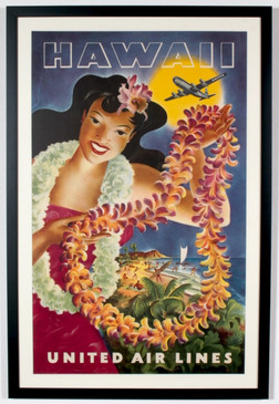 United Airlines Hawaii Travel Poster, Hula Girl Holding Lei, Original 1949