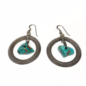 Big Tufa Cast Earrings with Turquoise Stone