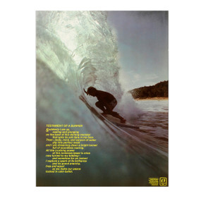 """Testament of a Surfer""  Vintage Hang Ten Surf Poster"