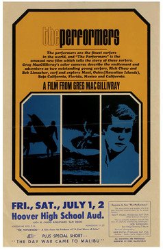 """""""The Performers"""" 1965 RARE Vintage Surf Movie Promotional Poster"""