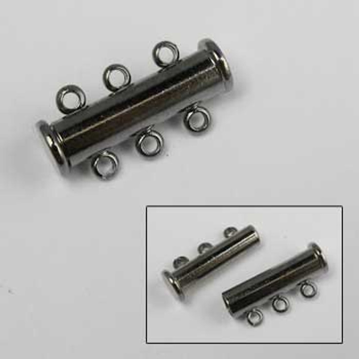 BLP014 - 3-Strand Magnetic Tube Clasp (20mm), Gunmetal Plated (each)