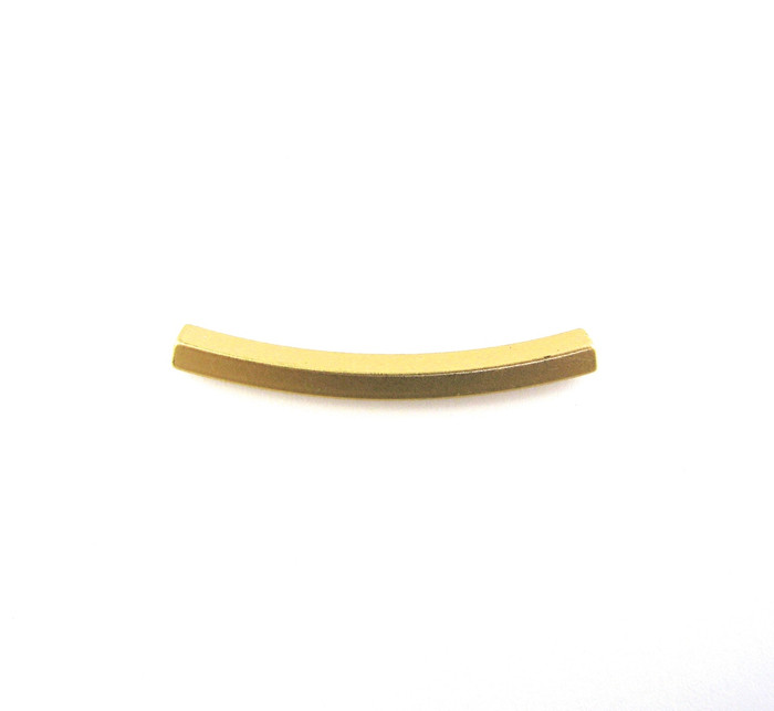 Satin Hamilton Gold 35mm x 3mm (2.5mm Hole) Square Curved Tube (Sold by the Piece)