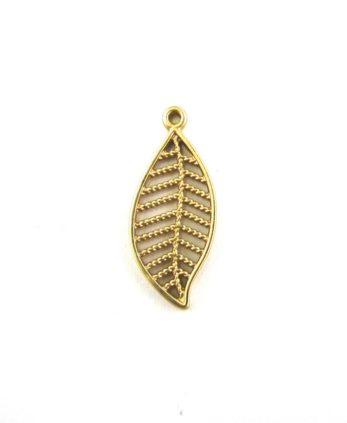 Satin Hamilton Gold 27mm Leaf Style Charm. Also used as Drop or Pendant (Sold by the Piece)