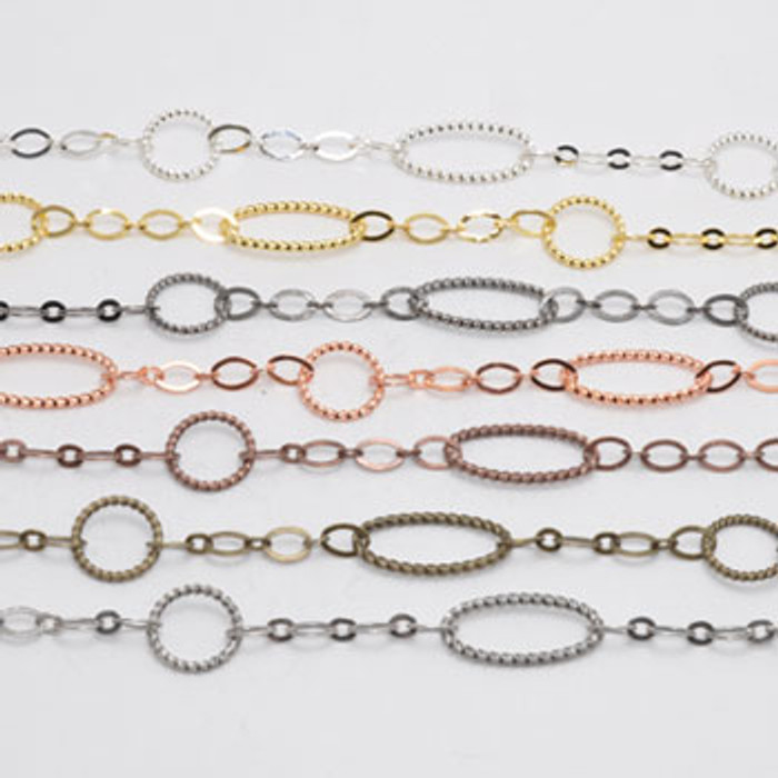 5mm-17mm Chain, Electroplated (Antique Silver)