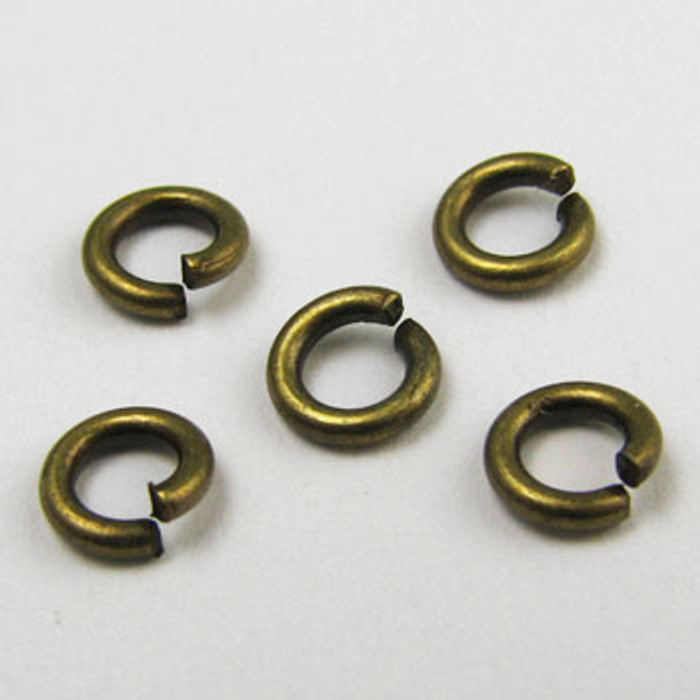 ABP002 - 4mm Open Jump Ring, Antique Brass Plated (pkg of 100)