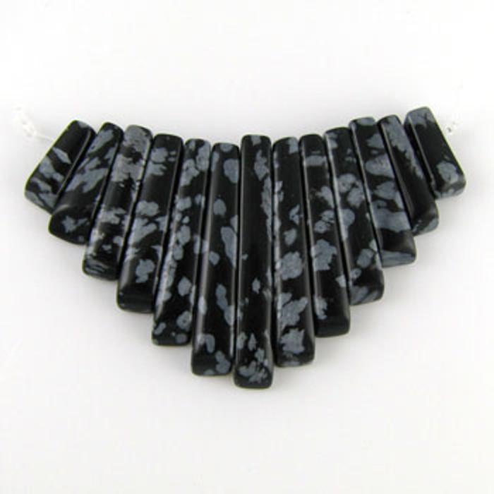 CL0016 - Snowflake Obsidian Collar (13 pieces)
