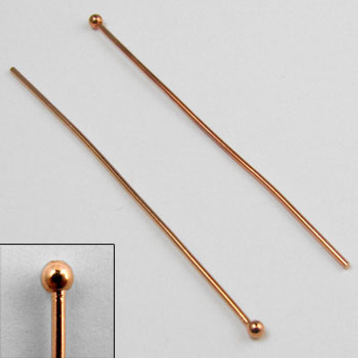 COP0025 - 2 in. Ball-End Headpin, 20 gauge, Copper Plated (pkg of 50)