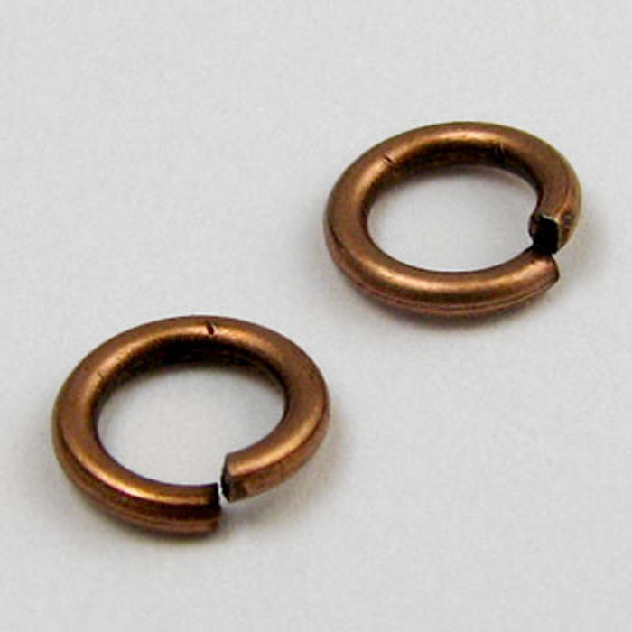8mm Open Jump Ring, Antique Copper Plated (pkg of 100)