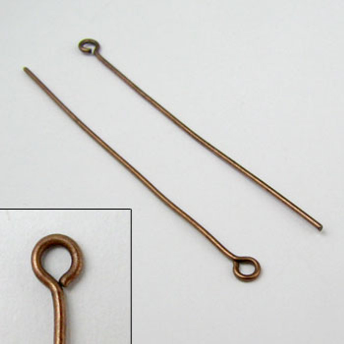 2 in. Eyepin, 20 gauge, Antique Copper Plated (pkg of 50)