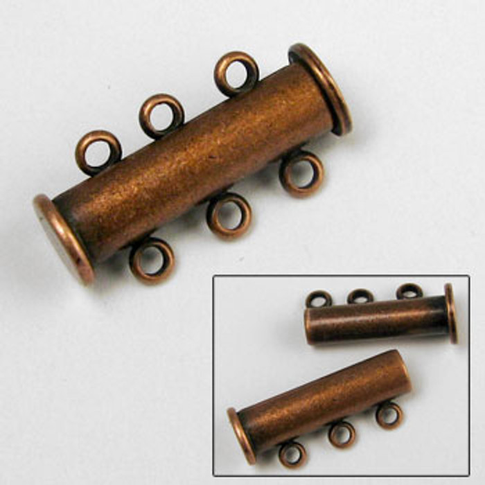 3-Strand Magnetic Tube Clasp (20mm), Antique Copper Plated (each)