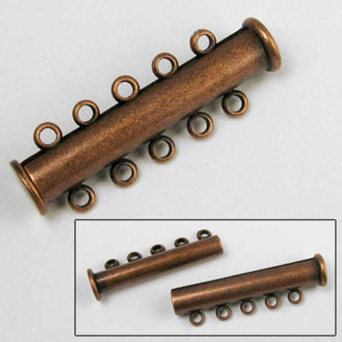 5-Strand Magnetic Tube Clasp (30mm), Antique Copper Plated (each)