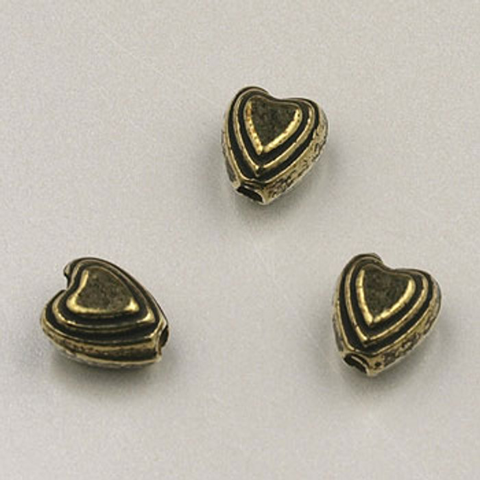 GP0028 - 6mm 3-D Heart, Antique Oxidized Gold Plate (pkg of 100)