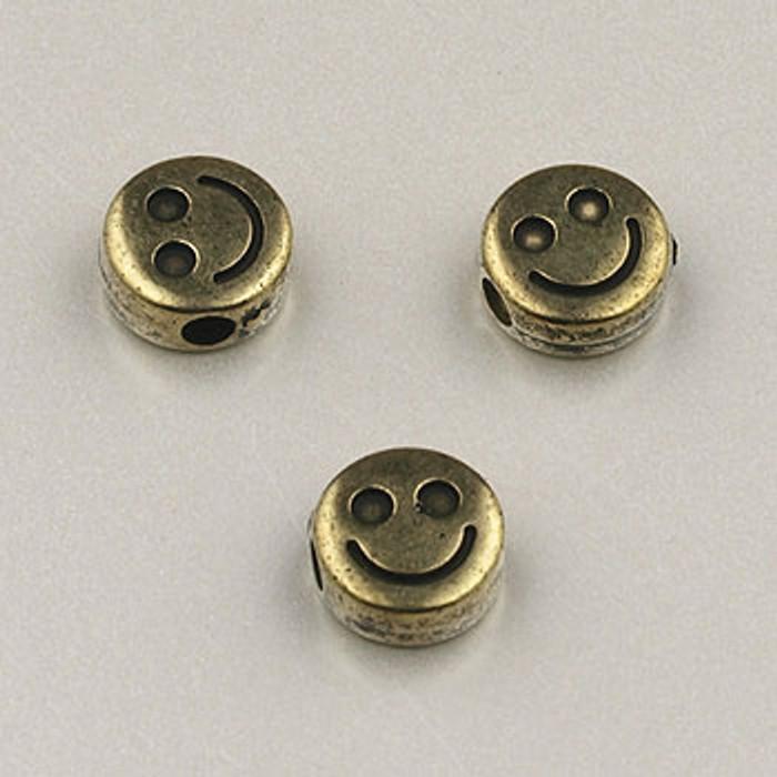 GP0034 - 6mm Flat Happy Face, Antique Oxidized Gold Plate (pkg of 100)