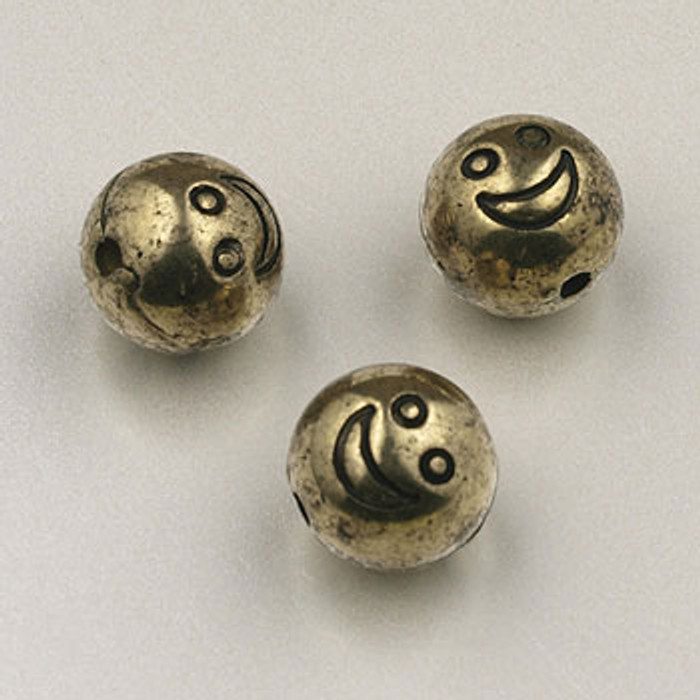 GP0035 - 8mm ''Smile'' Round, Antique Oxidized Gold Plate (pkg of 100)