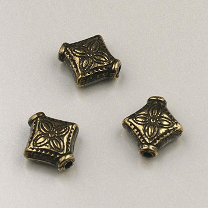 GP0039 - 10mm Diamond Flower, Antique Oxidized Gold Plate (pkg of 50)