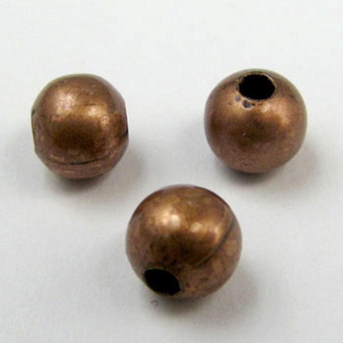 6mm Round Beads, Antique Copper Plated (pkg of 250)