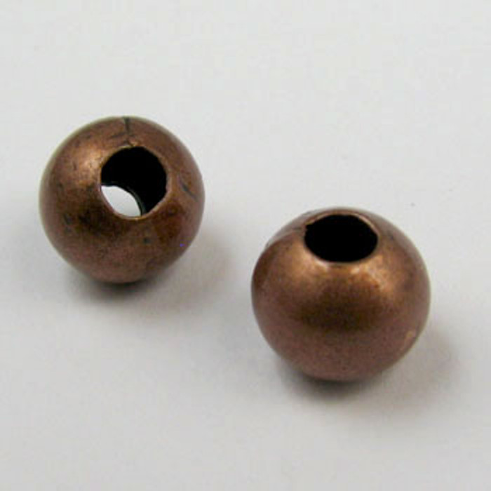8mm Round Beads, Antique Copper Plated (pkg of 100)