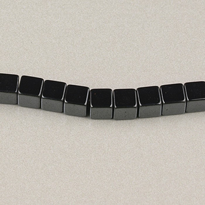 H005 - 3x3mm Cube, Hematite (16 in. strand)