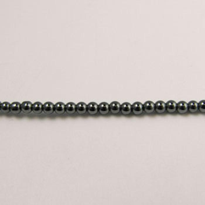 H052 - 2mm Round, Hematite (16 in. strand)