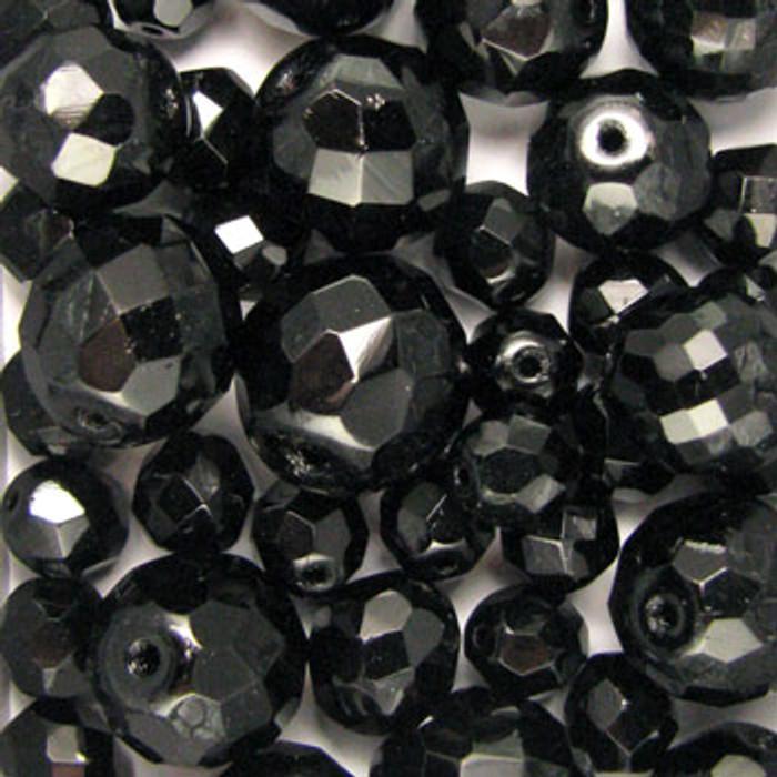 MIX0004 - Czech Glass Fire Polish Jet Mix - (assorted sizes/shapes)