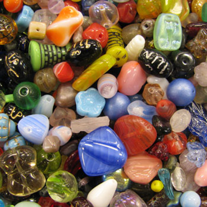 MIX0005 - Czech Pressed Glass Mix - (assorted sizes/shapes/colors) - approx. 75 beads per 50 grams