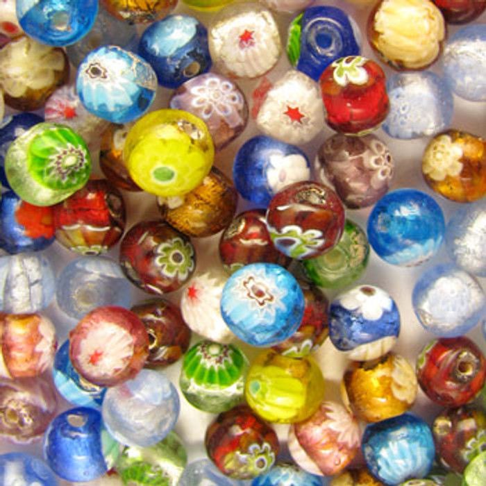 MIX0009 - India Millifiori Mix - approx. 10mm round (assorted colors) - approx. 38 beads per 50 grams