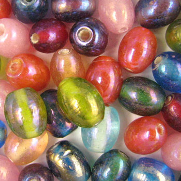 MIX0038 - India Luster Mix - approx. 9 x 11mm ovals (assorted colors) - approx. 41 beads per 50 grams