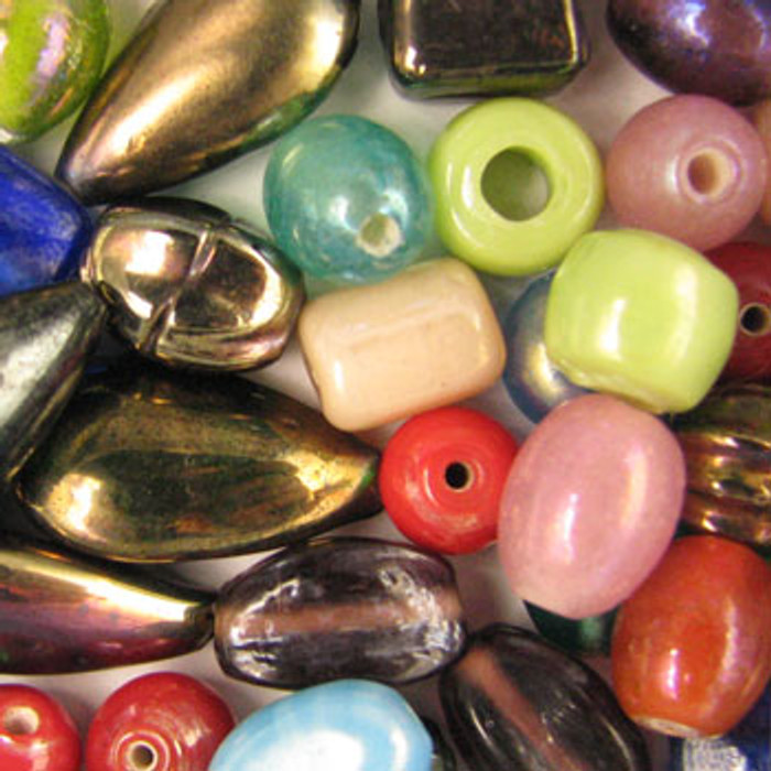 MIX0044 - India Luster Mix - (assorted sizes/shapes/colors) - approx. 15 beads per 50 grams