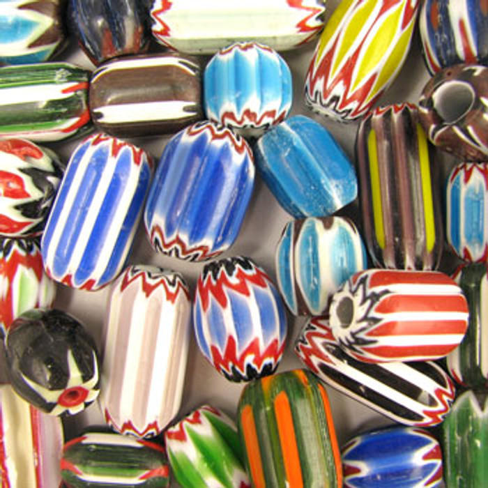 MIX0060 - India Large Chevron Mix - (assorted sizes/shapes/colors) - approx. 10 beads per 50 grams