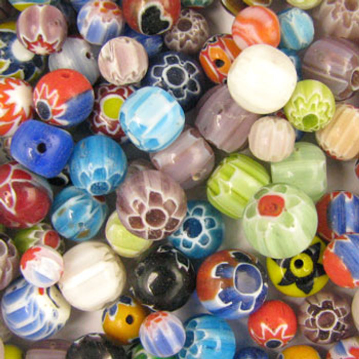 MIX0063 - India Chevron Mix - approx. 5-8mm round (assorted colors) - approx. 98 beads per 50 grams