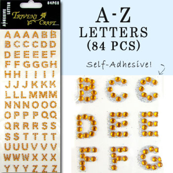 10mm (3/8 in.) Orange Alphabet Letters, Flatback Rhinestones (84 pcs) Self-Adhesive - Easy Peel Strips