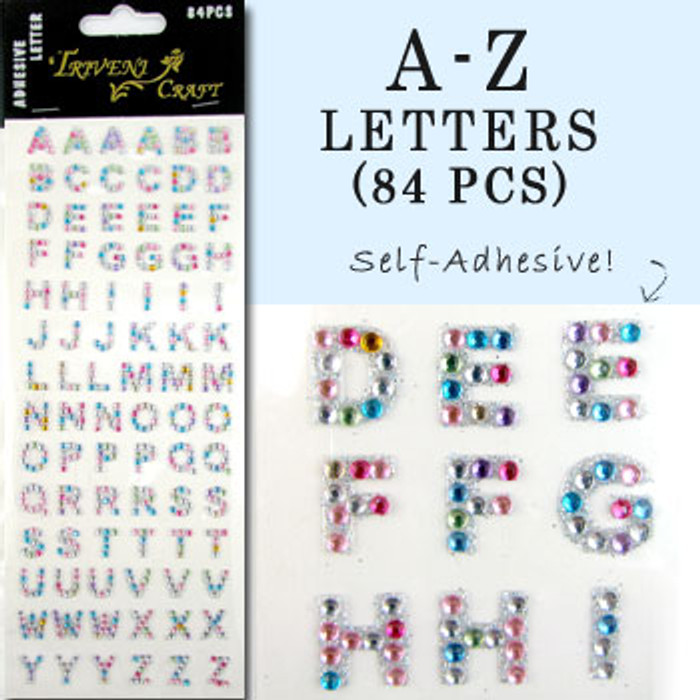 10mm (3/8 in.) Multi-Color Alphabet Letters, Flatback Rhinestones (84 pcs) Self-Adhesive - Easy Peel Strips