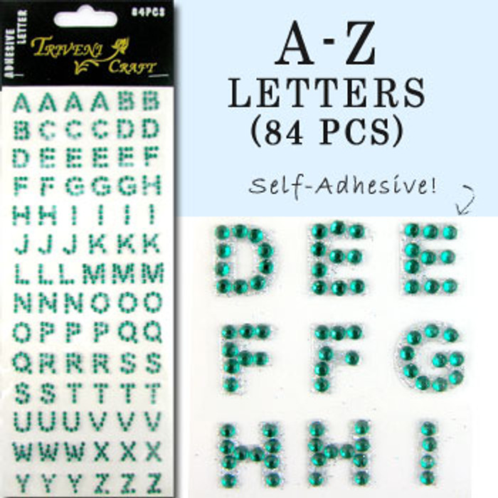 10mm (3/8 in.) Dark Green Alphabet Letters, Flatback Rhinestones (84 pcs) Self-Adhesive - Easy Peel Strips